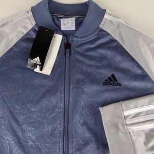Adidas Floral Embossed Track Jacket Colorblocked